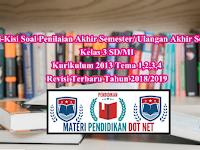 Kisi-Kisi Soal Penilaian Akhir Semester/ Ulangan Akhir Semester Kelas 3 SD/MI Kurikulum 2013 Tema 1,2,3,4 Revisi Terbaru Tahun 2018/2019