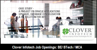Clover Infotech Walkin Interview: BE/BTech/MCA: 20+ Openings