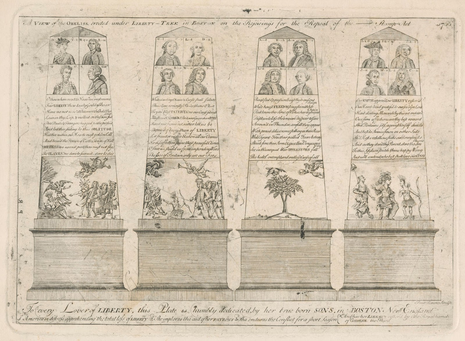 clements library chronicles  a view of the obelisk erected under the liberty tree in boston on the rejoicings for the repeal of the stamp act boston s n