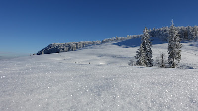 Glitzernder Schnee unter blauem Himmel