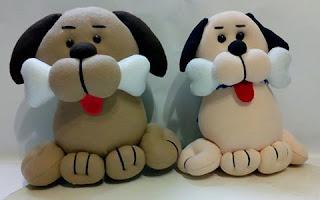 vídeo-aula Cachorro com osso na bolca (de pano e tecido)