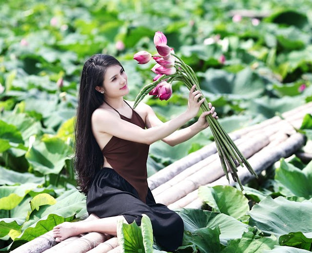 Hanoi West Lake - Attractions - Vietnam - West Lake Hanoi cafe, bicycle, Lotus Beauty Girl