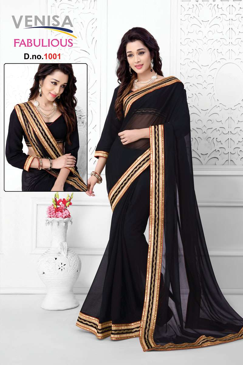 FABULIOUS – Chiffon Designer Saree With Blouse Piece