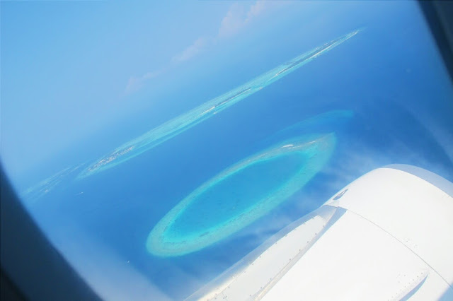 view from the airplane maldives