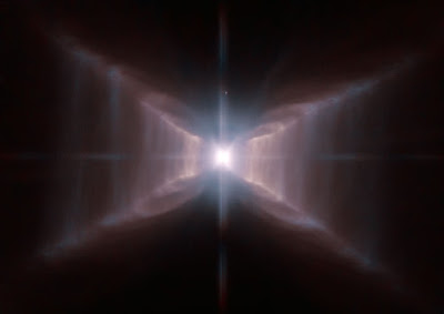 Hubble frames a unique red rectangle