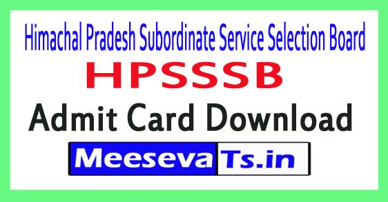Himachal Pradesh Staff Service Commission HPSSSB Admit Card Download 2018