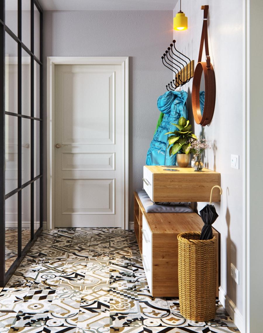 Stylowa aranżacja mieszkania z kolorowymi detalami - wystrój wnętrz, wnętrza, urządzanie mieszkania, dom, home decor, dekoracje, aranżacja wnętrz, minty inspirations, styl skandynawski, nowoczesne wnętrze, naturalne drewno, kolorowe akcenty, geometryczne wzory, stylowe wnętrze, przedpokój, wzorzyste płytki, marokańskie płytki