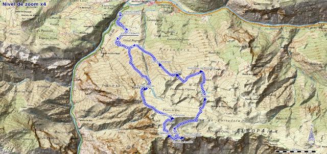 Mapa de la ruta a Cabeza Polvorosa en Cabrales