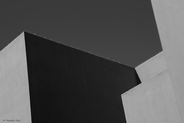 A Black and White Minimal Art Image of Geometric Lines of a Building shot at Jawahar Kala Kendra, Jaipur, Rajasthan.