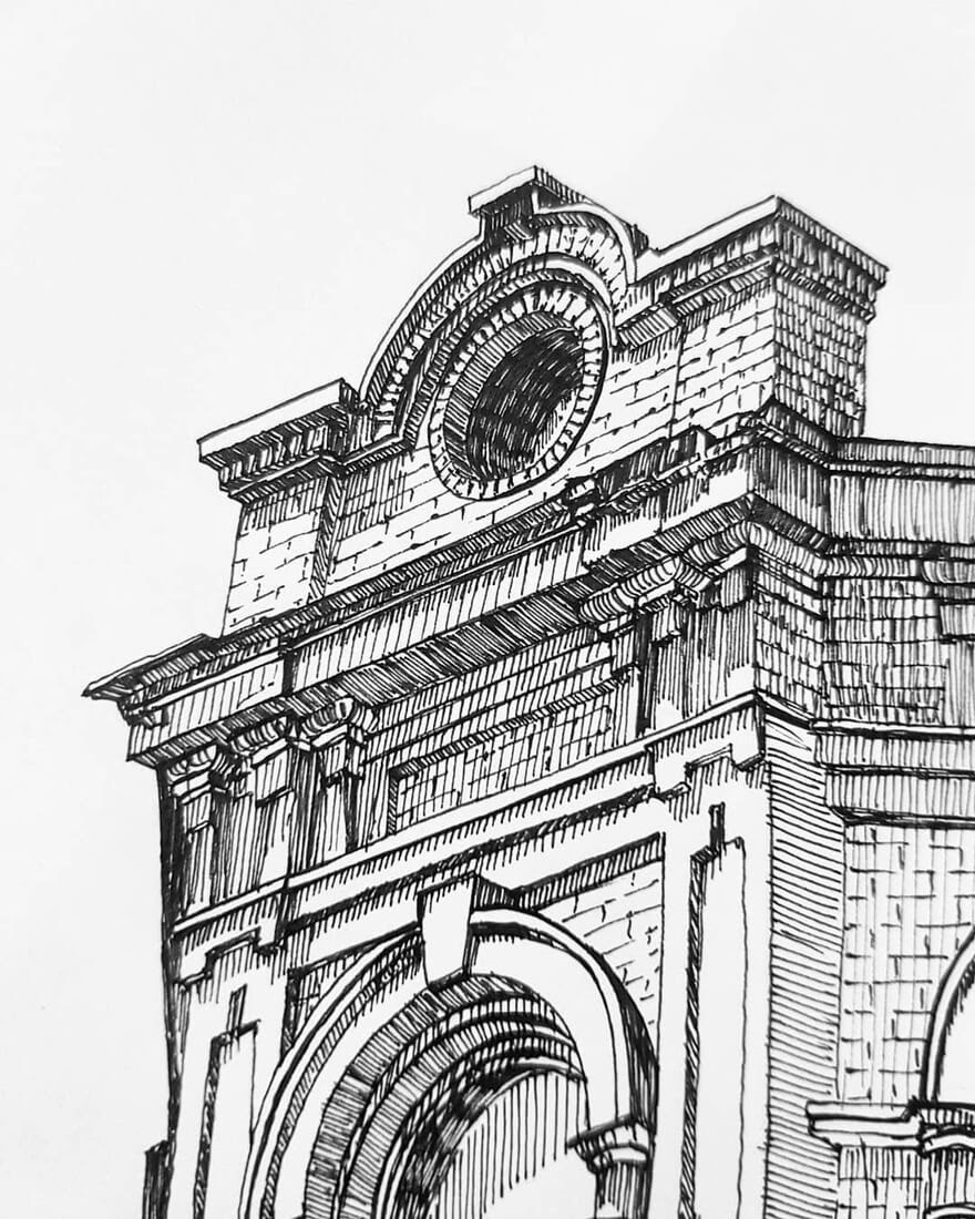 06-Closer-Detail-Natali-M-Drawings-of-Buildings-with-Architectural-Details-www-designstack-co