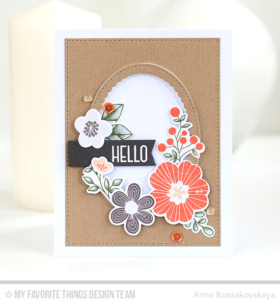 Handmade card from Anna Kossakovskaya featuring Lisa Johnson Designs Spring Wreath stamp set, Bold Blooms stamp set and Die-namics, Scattered Surface Background stamp, Stitched Scallop Oval Frames and Blueprints 29 Die-namics #mftstamps
