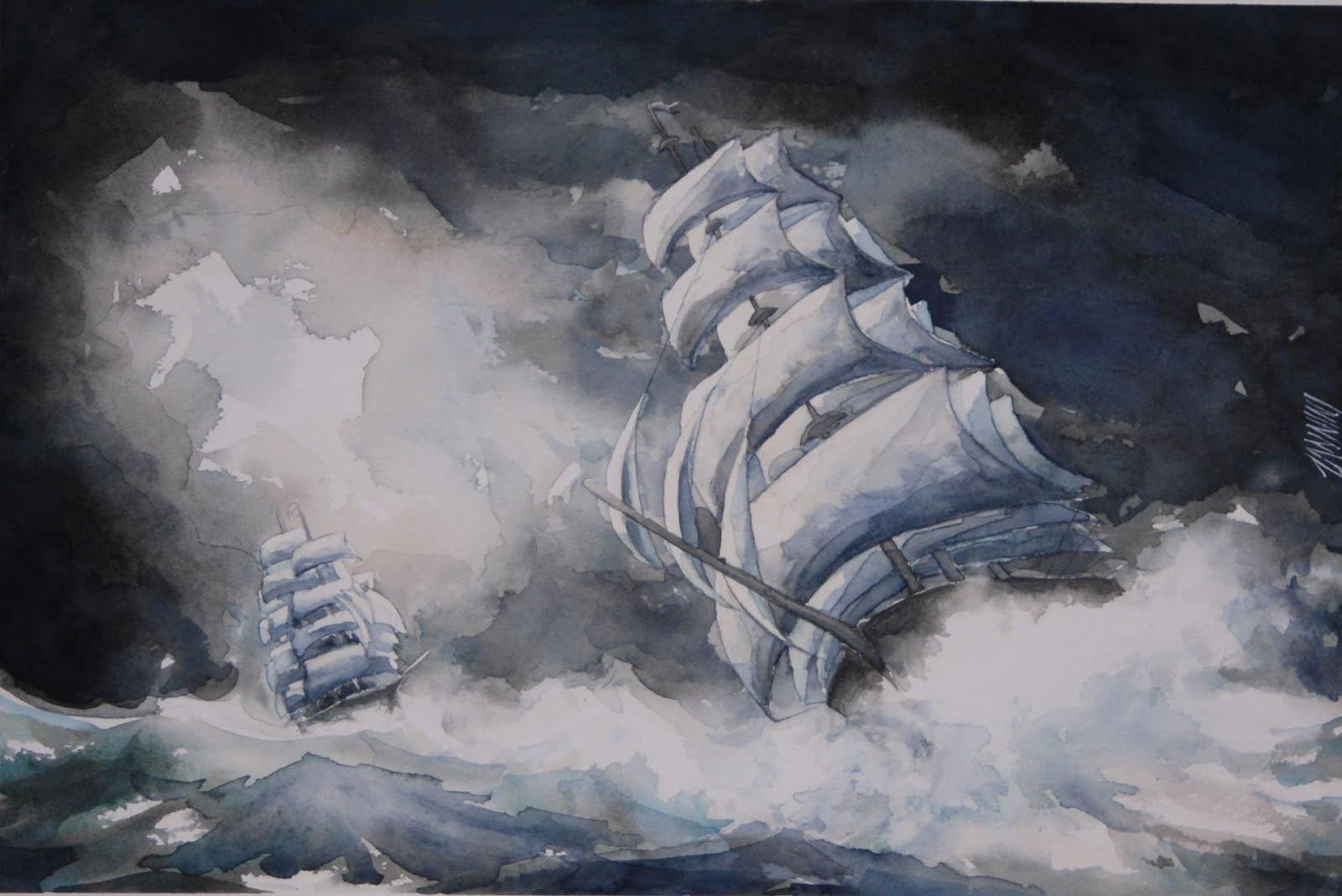 Galeone in tempesta