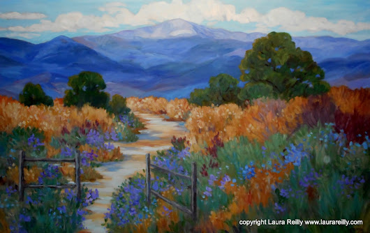 Commissioned Pikes Peak painting by Colorado Contemporary Artist Laura Reilly