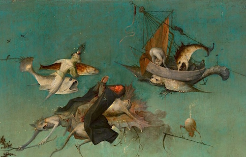 Detail of flying creatures from The Temptation of St. Anthony, Hieronymus Bosch, c.1501