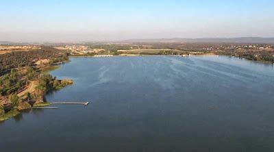 Vista aérea de la zona de la presa de Cazalegas