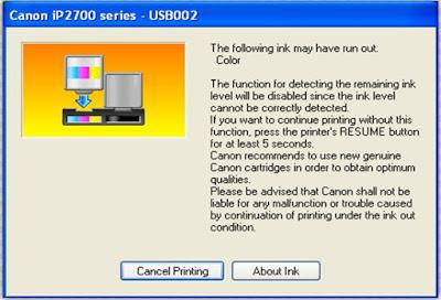 Cara Memperbaiki Beberapa Eror Printer Canon ip2770