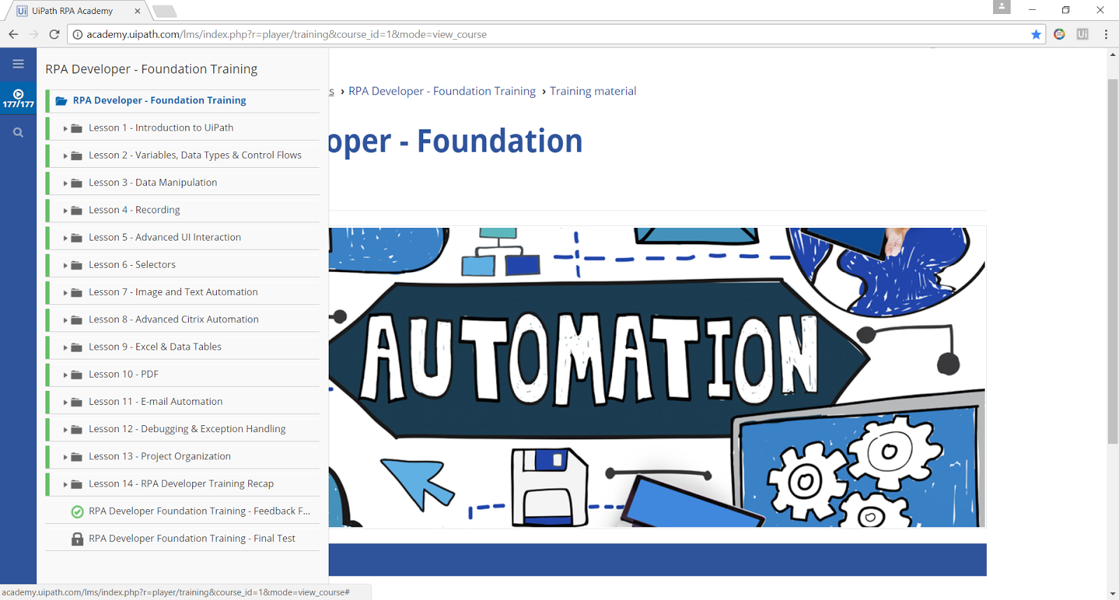 Graduated the RPA Developer - Foundation Training for UIPath