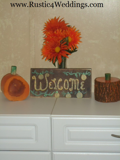 Rustic weddings wood pumpkins and shabby chic pumpkin