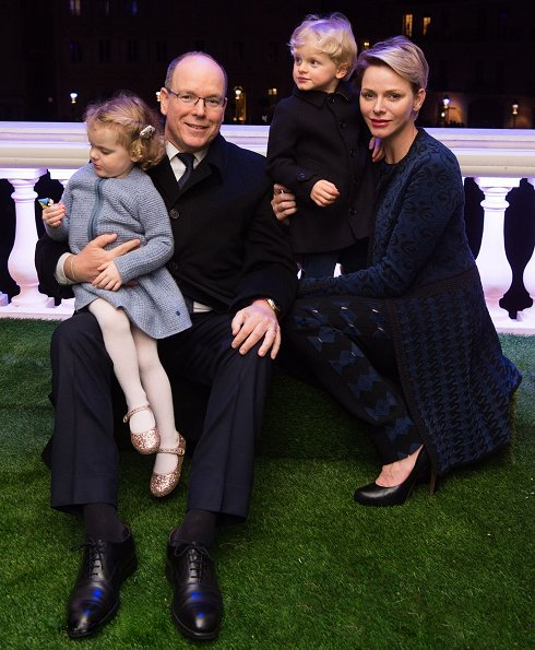 Prince Albert, Princess Charlène and their children Crown Prince Jacques and Princess Gabriela watched the traditional procession of the Dead Christ