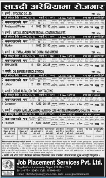 Jobs For Nepali In Saudi Arabia, Salary -Rs.36,595/