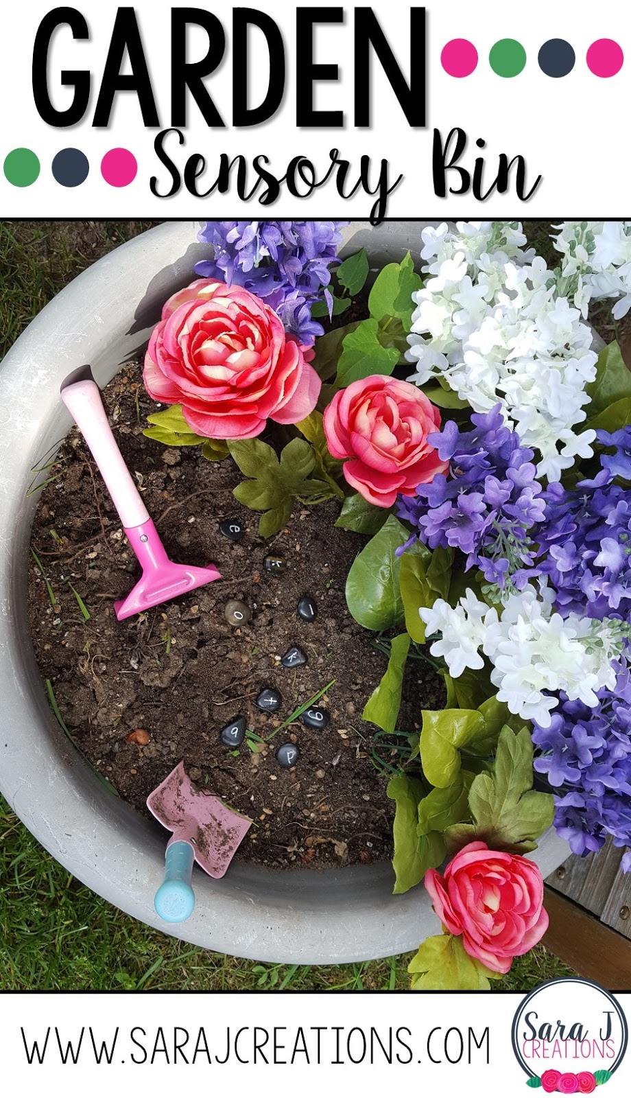 Love this cute Garden Sensory bin for preschool or even toddlers. Such a fun way to build fine motor and sensory skills while playing with flowers.