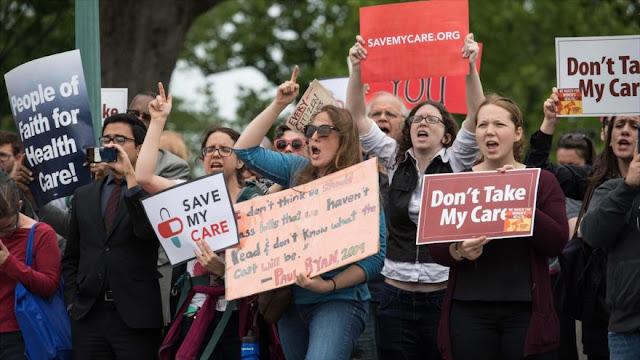 Protesta en Washington contra la derogación del Obamacare