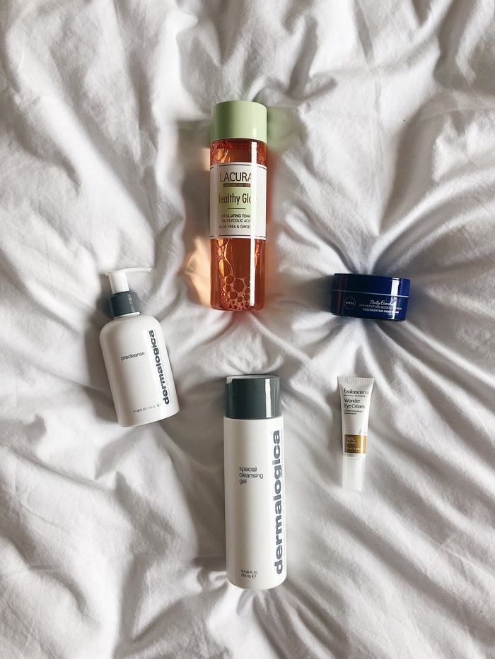My evening acne skincare routine featuring products from Dermalogica, Balance Me and Lacura