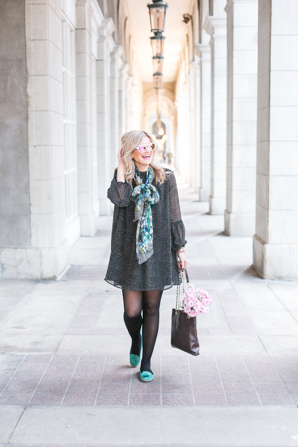 Bijuleni - How to overcome failure + #ootd. Polka dot shift mini dress, black tights, and turquoise flats
