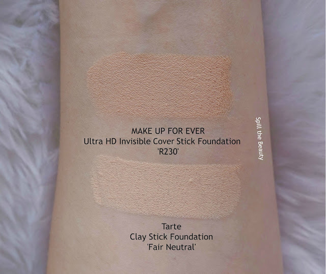 tarte clay stick foundation review swatches before and after fair neutral make up for ever ultra hd stick r230 comparison