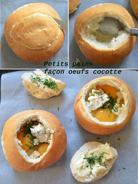 Petits pains garnis d'oeufs cocotte