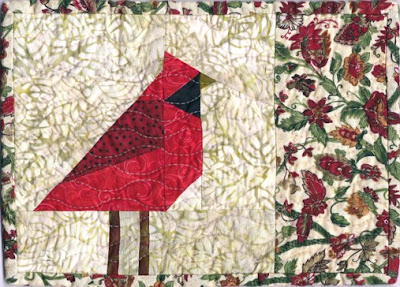 red cardinal quilted mug rug pattern