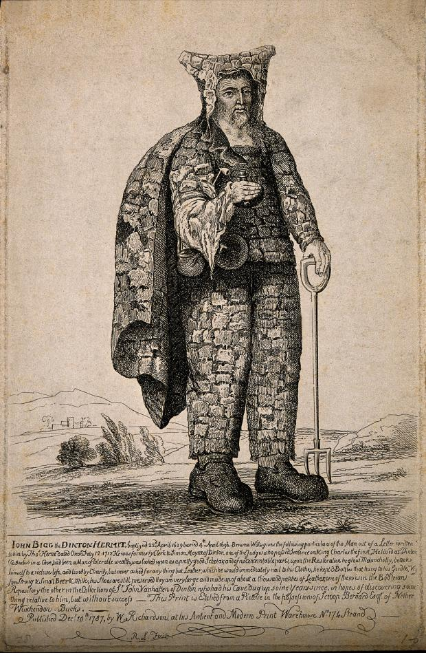- Illustration of John Bigg the Dinton Hermit 1660s. Knocker Up. marchmatron.com