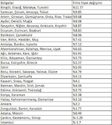 konut fiyatlarının en fazla arttığı iller