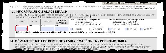 Sekcja L. Informacje o załącznikach w formularzu PIT 37