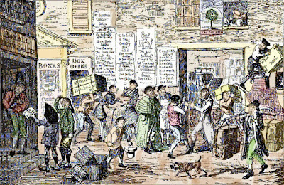 19th century street scene on Boxing Day in England