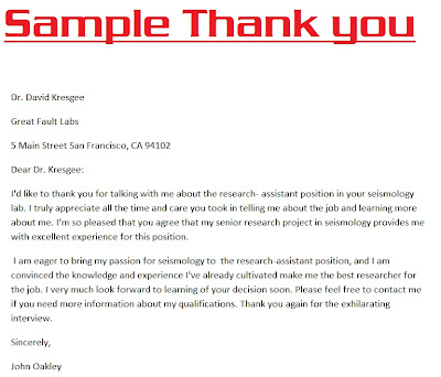 Thank You Letter After Learning More About The Position