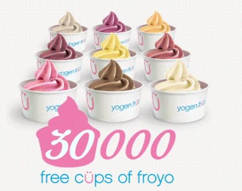 Yogen Früz 30,000 Free Cups of Froyo