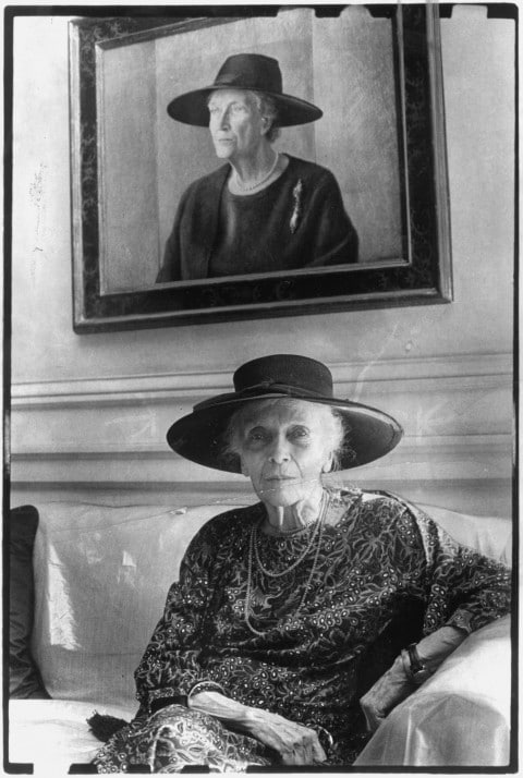 Alice Roosevelt Longworth. Age 90. Sits below her portrait