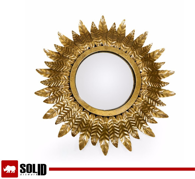 Sunburst Mirror Antique Gold Colour Leaf