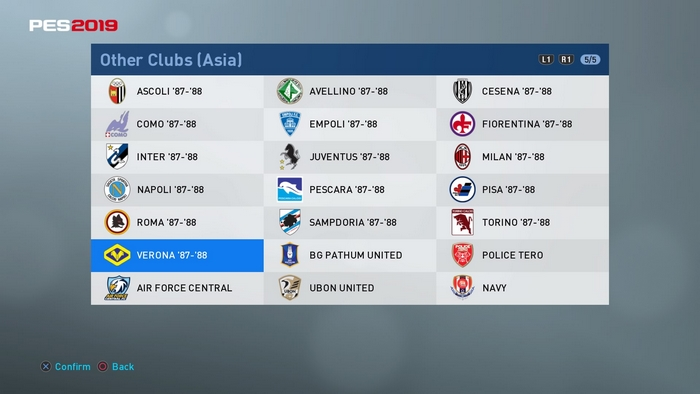 PES 2019 PS4 Classic Option File Serie A 1987-88 League by