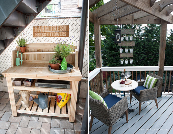 Potting Bench under the stairs and sitting area on the deck with 2 chairs and a small table