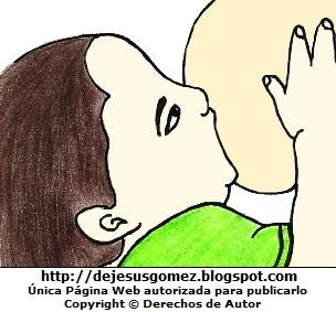 Dibujo de un bebé tomando teta. Dibujo de bebé mamando hecho por Jesus Gómez