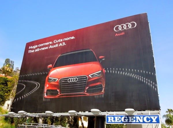 Audi A3 Hugs corners cuts none billboard