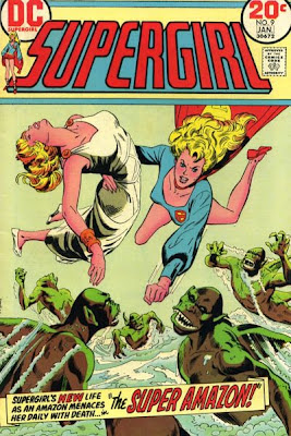 Supergirl #9, the Super-Amazon, Supergirl holds Queen Hyppolyta aloft as she throws a punch at a group of  shark men