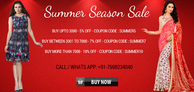 Summer Season Special Great Discount Offer Deal On Salwar Suits And Sarees And All Women Products Online Shopping