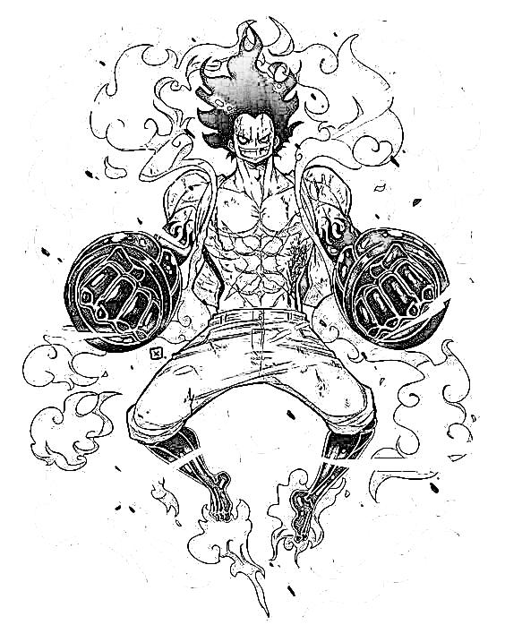 Luffy Gear 4 Snakeman para colorear, pintar, dibujar, imprimir