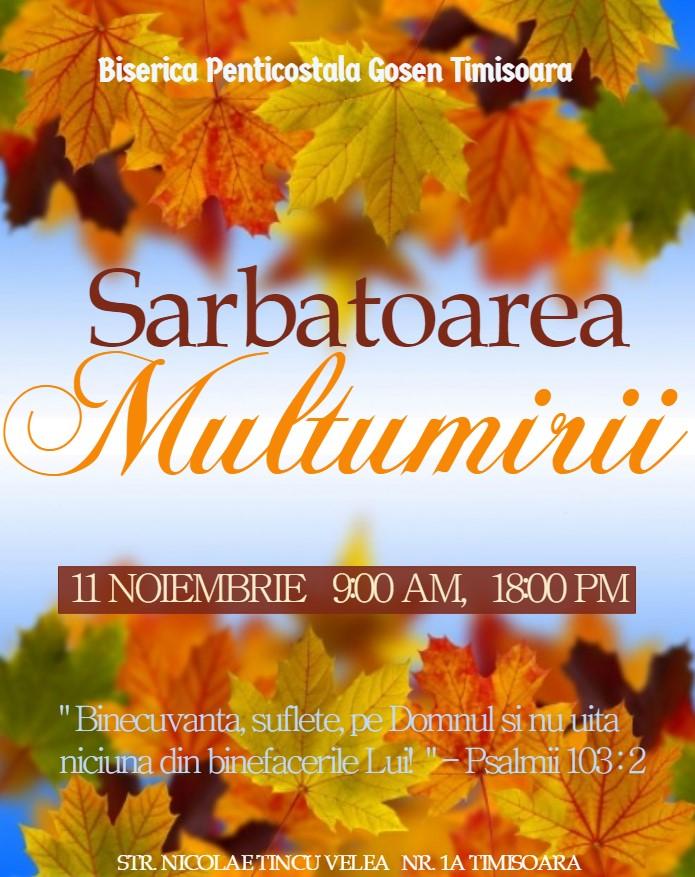 Sărbătoarea Multumirii la Biserica Gosen Timisoara