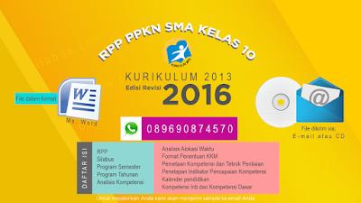Jual RPP PPKN Kelas X SMA Kurikulum 2013 Edisi Revisi 2016