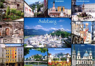 0614 Salzburg: 1. Friedhof zu St. Peter (St. Peter's Cemetery);  2. Hofstallgasse (Hofstall Alley); 3. Mozartplatz (Mozart Square);  4. Residenzbrunnen; 5. Pferdeschwemme (Horse Well);  6. Getreidegasse (Grain Lane); 7. Mozarts Geburtshaus  (Mozart's Birthplace); 8. Makartsteg (Makart Bridge);  9. Mirabellgarten (Mirabel Gardens); 10. Dom (Cathedral).