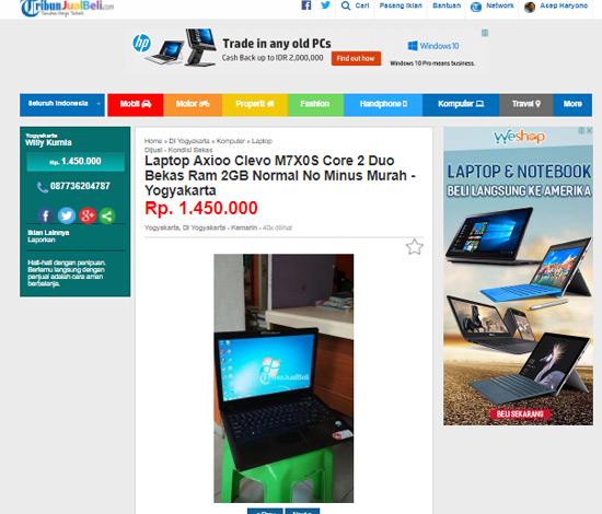 TERJUAL : Inilah capture iklan Laptop yang dipasang oleh pemasang Iklan bernama mas Willy Kurnia di Yogyakarta.  Sudah terjual sama saya. Hehehe. Foto Internet